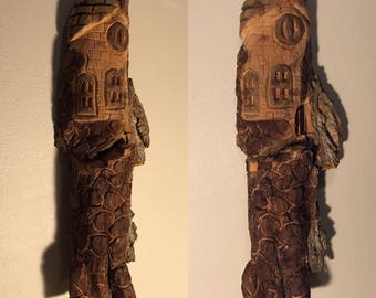 Whimsical,  gnome, elf or wood-spirit house, bark carving, spirit of the woods, cottonwood bark carving, fairy house, goblin house, OOAK