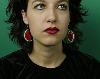 "SALE! Watermelon, Sandia Earrings, 2""  Hand Painted Fruit Earrings, Summer Earrings, Red & Green"