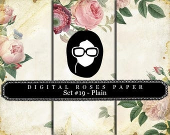 Rose Paper Digital - Set #19 - Plain - 3 Pg Instant Downloads - digital rose paper, floral digital paper, digital paper pack