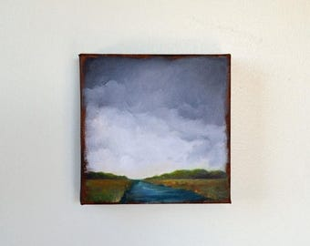 ON SALE Original oil painting, river landscape, stormy sky, thunderstorm clouds - Stormscape series sixty