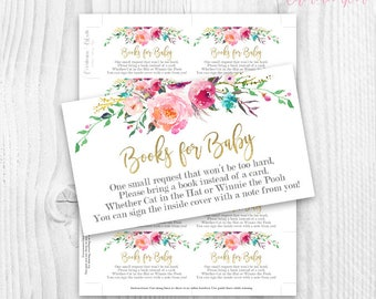 Floral baby Shower girl book cards pink and gold foil watercolor floral, please bring a book floral card, rustic baby shower book cards