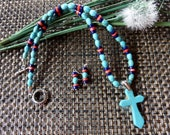 19 Inch Southwestern Turquoise Cross Necklace with Earrings