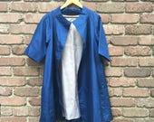 Vintage Blue Silk 1960s Swing Coat