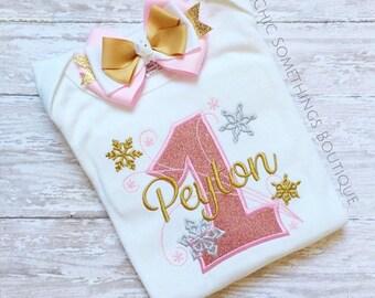 first birthday shirt, snowflake shirt, winter onederland shirt, gold pink birthday shirt, gold pink birthday shirt, snowflake birthday 01.18