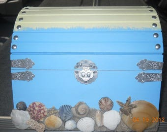 5 Dollar OFF SALE Large Mermaid Box, Pirate Treasure Chest, Sailor's Valentine, Baby Shower, Birthday, Party Box, Custom Made, Personalized!
