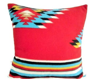 ON SALE Red Southwestern Pillow Cover Sham AztecMuseum Quality Print Fleece