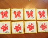 Vera Neumann Coasters - Fruit Coasters - Set Of 8 - Fabric - Reversible - 1970s