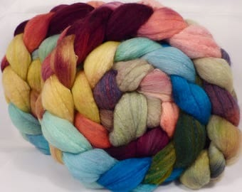 Hand dyed top for spinning - Guadeloupe - (4.8 oz.) Organic polwarth /Tussah silk (80/20)