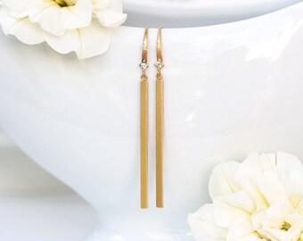 6711 Dangle bar earrings, Gold bar earrings, CZ earrings, Skinny bar earrings, Long bar gold plated stick earrings Dainty simple bar earring