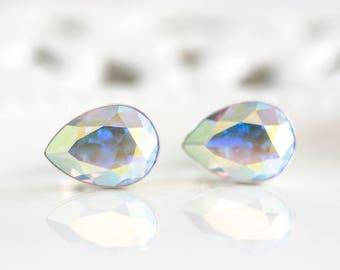 801_ SWAROVSKI crystal earrings, Stud drop earrings, Gift for her, White AB earrings, Gift teardrop silver earrings, Rhinestone earrings