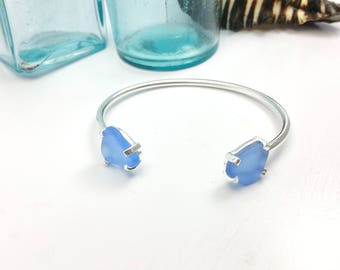 Dual Sea Glass, Prong Set Bracelet.  Cornflower. Sterling Silver. Adjustable. Beach Jewelry.