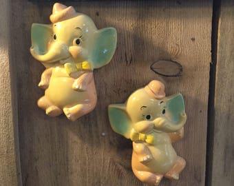 Pair of Vintage Chalkware Elephants,Nursery Decor
