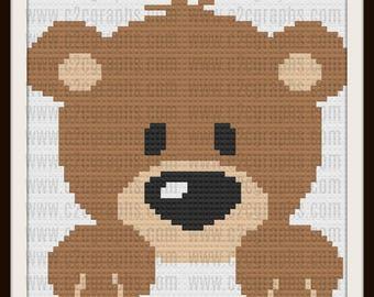 Baby Bear Afghan, C2C Graph, Written Word Chart, Crochet Pattern