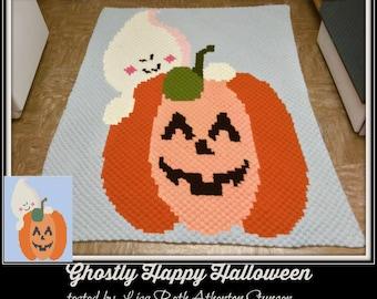 Ghostly Happy Halloween Afghan, C2C Graph, Crochet Pattern