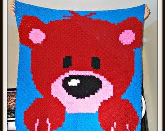 Baby Bear Afghan Red, C2C Graph, Written Word Chart, Bear C2C Graph, Crochet Pattern