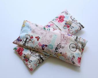 Eye Pillow Floral/Garden Cotton with Insert and Washable Cover,  Flax/Lavender