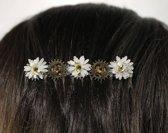 White Floral Steampunk Hair Comb