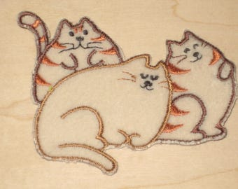 3 Fat Cats Iron on Patch