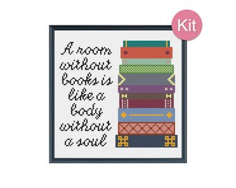 Cross Stitch Kit - A Room Without Books Is Like A Body Without A Soul, Quote, DIY Gift Idea, Unique Home Decor, Modern Embroidery, Library