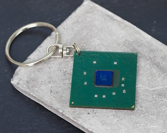 Chipset keychain, recycled computer keychain