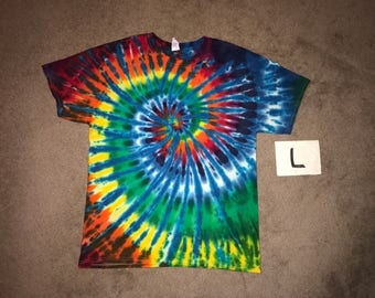 Tie Dye T-Shirt ~Rainbow Nautilus Spiral with White Stripes i_6084 Adult Large