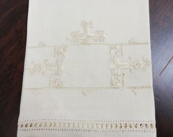 Cream Colored Handmade Hardangar Embroidered Guest Towel