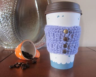 Purple Cup Cozy, Crocheted Cozies, Coffee Cup Cozy, Cozy for Cup, Cozy with Buttons, Reusable Cup Cozy, Travel Cup Cozies, Cup Cozy Crochet