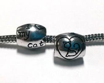 3 Beads - I love My Cat Heart Silver European Bead Charm E1363