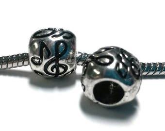3 Beads - Musical Note Music Silver European Bead Charm E0163