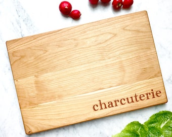 Charcuterie Board. Engraved wooden serving platter. Hostess gift under 50. Large Personalized Cheese Board, Cherry Wood, 16x10.5 inches