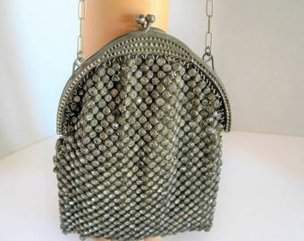 Antique Rhinestone Covered Purse - Art Nouveau Style -  Made in France - Wedding Purse