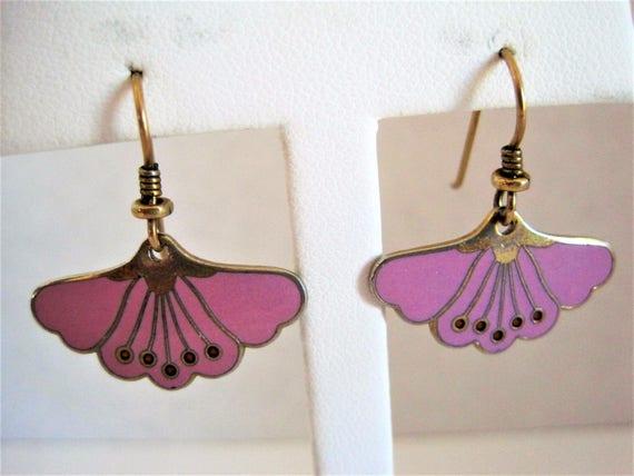 Laurel Burch Earrings  - Vintage Pierced Wire - Peony  -  Laurel Burch -