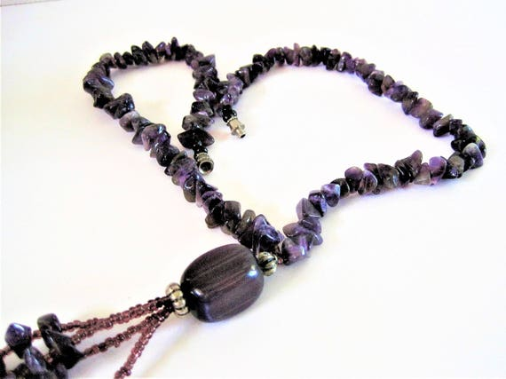 Amethyst Chips Necklace -  4 strand Amethyst Tassel  - Silver Screw In Clasp