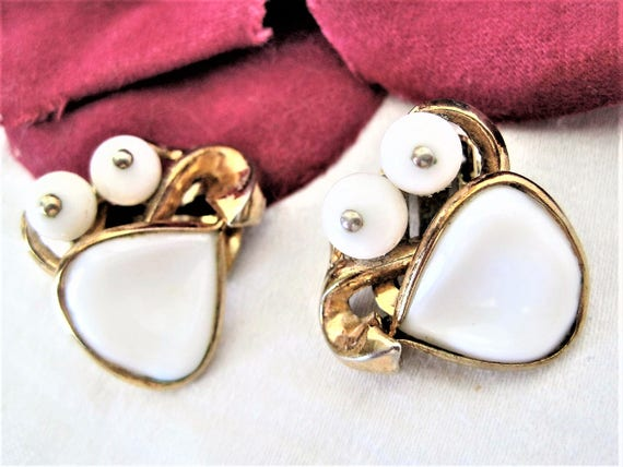 Crown Trifari Earrings -  Poured White Glass -  Pat. Pend. - Alfred Philippe - Book Piece