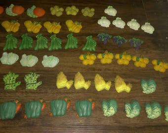 Set of 48 Produce-Themed Pieces (from old magnets)