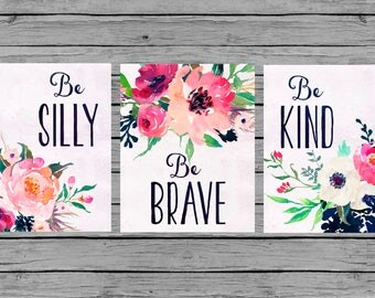 Nursery Wall Art Nursery PRINTABLE Art Baby girl Nursery Decor Pink navy floral  Nursery Set of 3 prints Nursery bouquet be brave kind silly