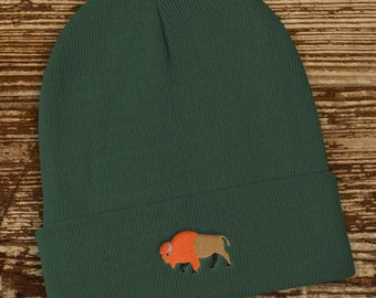 Bison Buffalo Knit Beanie, 60 Cotton 40 Acrylic - winter knitted hat, national park hiking camping apparel