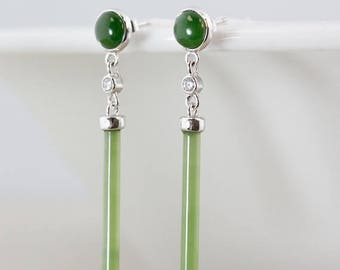 ON SALE Genuine Jade Dangle Earrings - Studs - 925 Sterling Silver