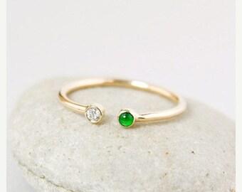 FLASH SALE Icy Emerald Green Jadeite Diamond Ring – Modern Wedding Band – 14kt Gold