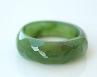 FLASH SALE Jade Ring - Nephrite Jade Ring - Faceted Ring