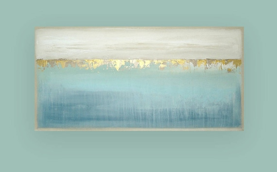 """RESERVED Original, Painting, Abstract, Acrylic, Abstract Acrylic Fine Art Painting by Ora Birenbaum,  Canvas Titled: Cascade 4 24x48x1.5"""""""
