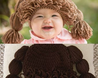 READY TO SHIP Crochet Cabbage Patch Kids-Inspired Hat - Dark Brown, 3-6 Months Size - Pretend Play, Costume