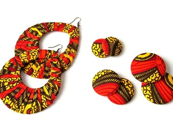 Earring Fab - African Wax Print Fabric Oversized Wrapped Hoops and Buttons