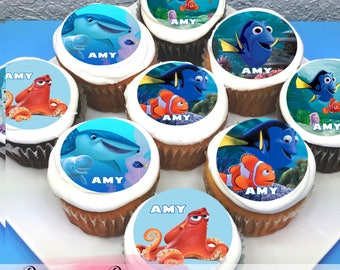 "Finding Dory Edible Icing Cupcake Toppers - 2"" - PRE-CUT"