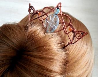 Blue Hair stick, hair pin, hair fork, copper and stones hair comb stick, boho bun pin, wire wrap hair accessories