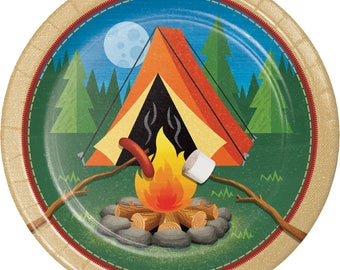 Camp Out Dinner Plates, Camping Party Paper Plates, Fishing Party Dinnerware, Dinner Plates