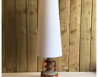 Vintage 60s 70s Style White Hessian Conical Lampshade Fat Lava Tall White Lampshade