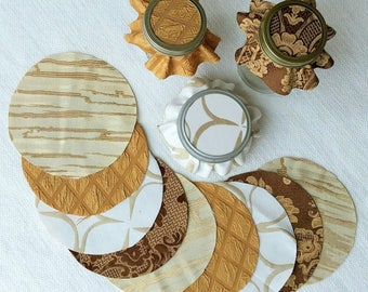 Dozen Multi-Gold-Tone Jar Toppers, Fabric Circles for Canning, Gift in a Jar, YoYo, FREE Shipping