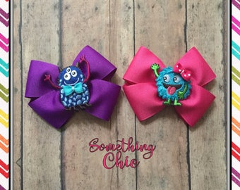 Little Monster Inspired Hair Bow Set Pink Purple Hairbow Baby Toddler Girl Hair Bow Boutique