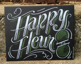 """Happy Hour Sign - 8""""x10"""" hand lettered bar sign - smudge resistant medium on heavy illustration board - custom options - happy hour"""